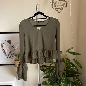 Army Green Ruffle Blouse